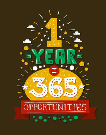 one year: Vector modern flat design hipster illustration with quote phrase One Year 365 Opportunities Illustration