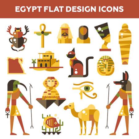 벡터 평면 설계 이집트의 세트 명소와 유명한 이집트 기호 아이콘과 인포 그래픽 요소를 여행