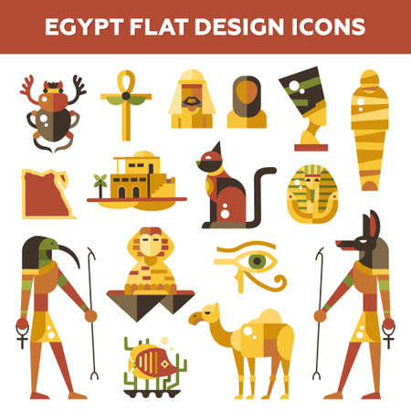 cat fish: Set of vector flat design Egypt travel icons and infographics elements with landmarks and famous Egyptian symbols