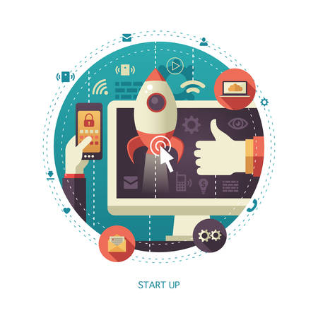 Illustration of vector  flat design start up business composition with rocket and other elements