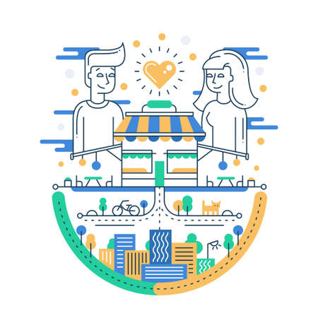 Illustration of vector modern line flat design city composition with city buildings, cityscape infographics elements and a loving couple