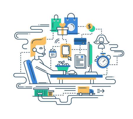 コンピューター ホーム ワークステーションとインフォ グラフィックの要素を持つベクトル近代的なライン フラット デザイン配信サービス構成の図  イラスト・ベクター素材