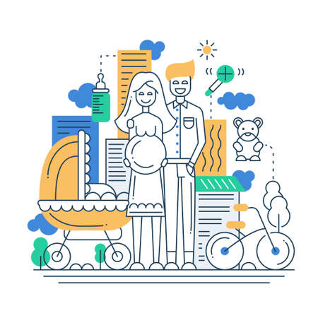 Illustration of vector modern line flat design city composition and infographics elements with a  happy family
