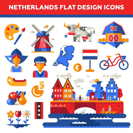 holland: Set of vector flat design Holland travel icons and infographics elements with landmarks and famous Dutch symbols