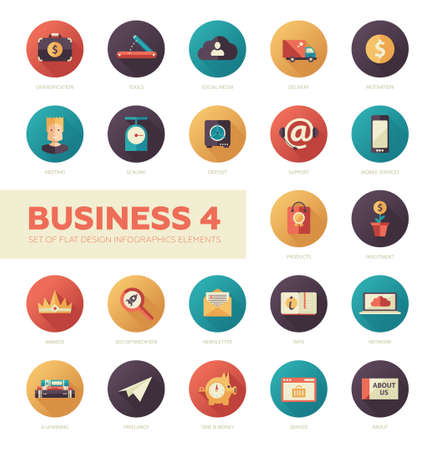 customer support: Set of modern flat design business vector infographics icons
