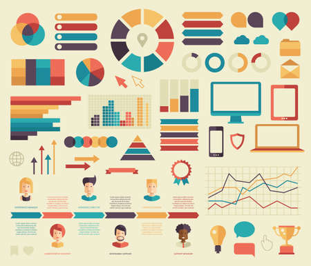 Big set of business vector flat design infographics elements. Isolated graphs, bars, dots, charts, pie, diagrams, timeline, people icons, gadgets and pictograms Illustration