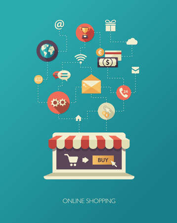 online shopping cart: Illustration of vector flat design business composition with online shop