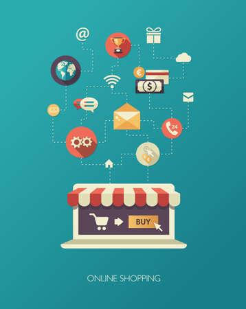 Illustration of vector flat design business composition with online shop