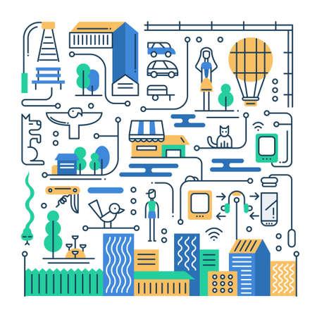 ベクトル近代的なライン フラットなデザイン都市生活都市の建物と都市景観のインフォ グラフィックの要素構成の図