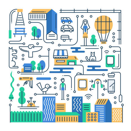 Illustration of vector modern line flat design city lifestyle composition with city buildings and cityscape infographics elements