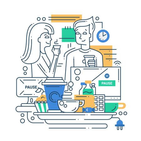 男と女でベクター近代的なライン フラットなデザインのコーヒー ブレーク組成とインフォ グラフィック要素の図