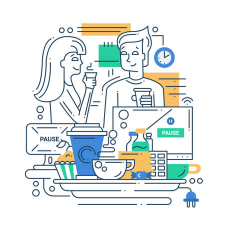 Illustration of vector modern line flat design coffee break composition and infographics elements with man and woman Illustration