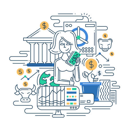 cartoon bank: Illustration of vector modern line flat design make money composition and infographics elements with a businesswoman