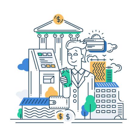 벡터 현대 선 플랫 디자인의 그림 돈을 컴포지션과 infographics 요소는 사업가 스톡 콘텐츠 - 48110179