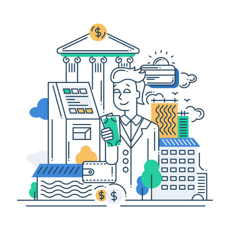Illustration of vector modern line flat design make money composition and infographics elements with a businessman Illustration