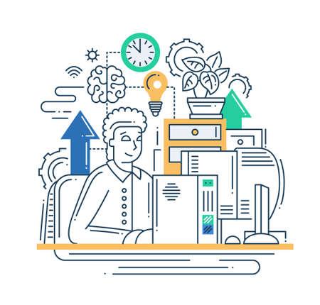 남자와 벡터 현대 라인 플랫 디자인 인터넷 통신 조성의 그림 인포 그래픽 요소와 자신의 직장