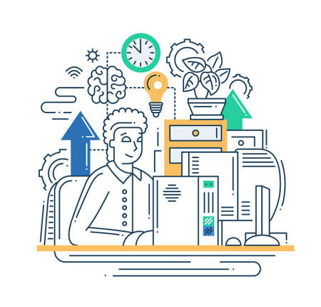 Illustration of vector modern line flat design internet communication composition and infographics elements with man and his work place