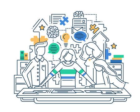 ベクター近代的なライン フラットなデザイン創造的なプロセス構成と問題解決チームとインフォ グラフィック要素の図  イラスト・ベクター素材
