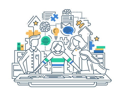 Illustration of vector modern line flat design creative process composition and infographics elements with a team solving problem