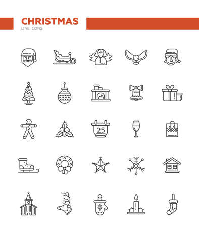 new icon: Set of Christmas and Happy New Year line flat design vector icons