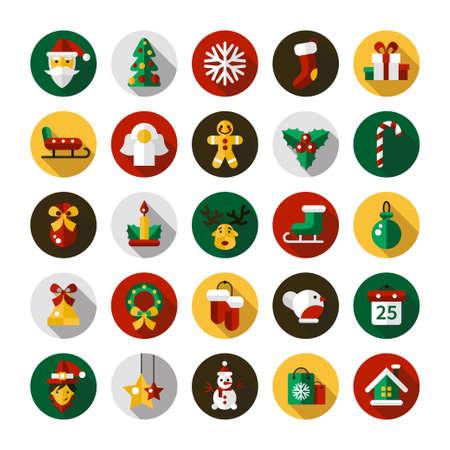 Set di Natale e Felice Anno Nuovo Design piatto icone vettoriali