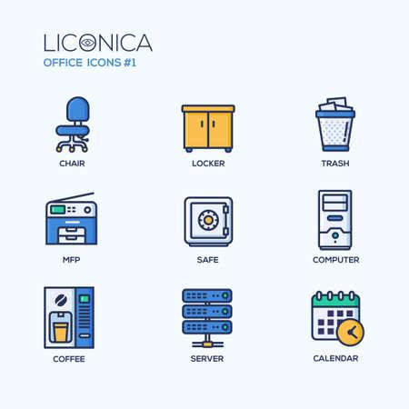 caja fuerte: Conjunto de vector de oficina moderna línea delgada iconos del diseño plano y pictogramas. Colección de infografía de negocios objetos y elementos de la web.