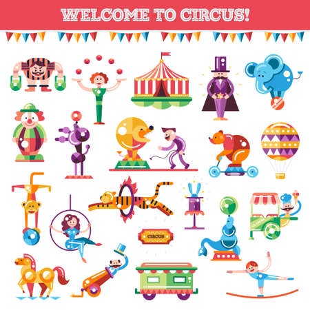 circus animal: Set of vector modern flat design circus and carnival icons and infographics elements
