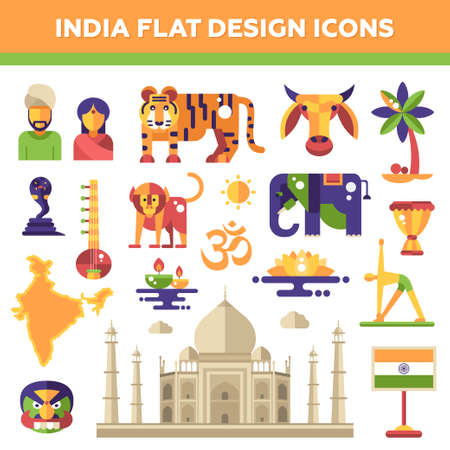 hindu temple: Set of vector flat design India travel icons and infographics elements with landmarks and famous Indian symbols