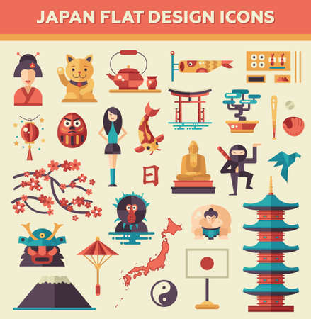 Set van vector plat ontwerp Japan reizen iconen en infographics elementen met bezienswaardigheden en de beroemde Japanse symbolen Stock Illustratie
