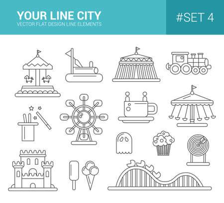 Set of vector flat design amusement park line icons