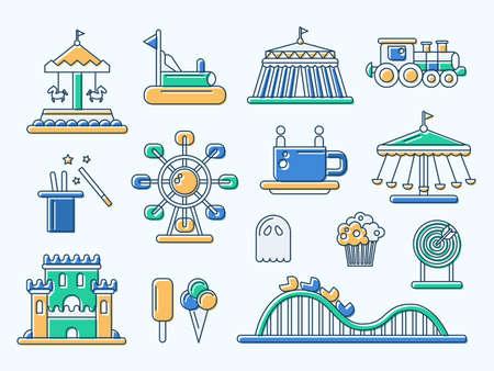 theme park: Set of vector flat design amusement park line icons