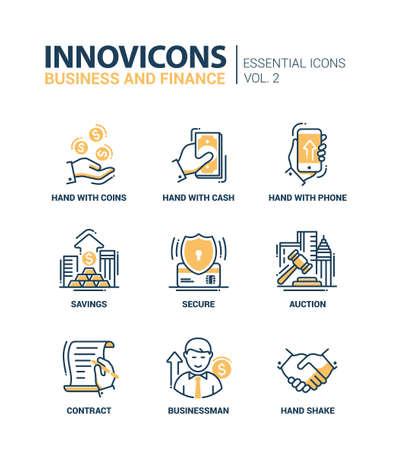 현대 벡터 사무실 얇은 선 평면 디자인 아이콘과 그림 문자의 집합입니다. 비즈니스 및 금융 인포 그래픽 개체 및 웹 요소의 컬렉션