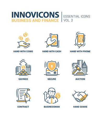 Set of modern vector office thin line flat design icons and pictograms. Collection of business and finance infographics objects and web elements 版權商用圖片 - 48359766