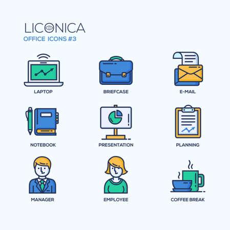 현대 벡터 사무실 얇은 선 평면 디자인 아이콘과 그림 문자의 집합입니다. 비즈니스 인포 그래픽 개체 및 웹 요소의 컬렉션입니다.