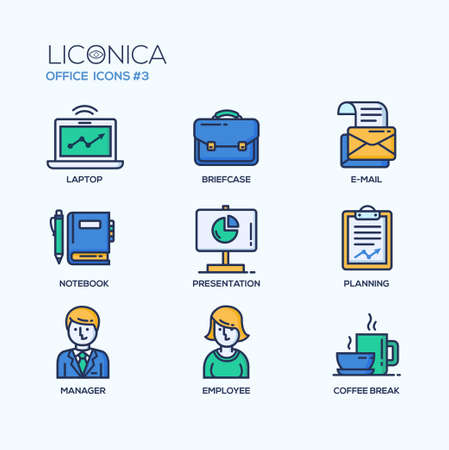 mail: Set of modern vector office thin line flat design icons and pictograms. Collection of business infographics objects and web elements.