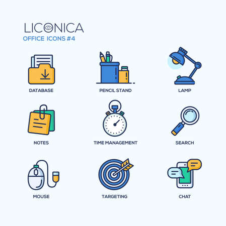 document management: Conjunto de vector de oficina moderna l�nea delgada iconos del dise�o plano y pictogramas. Colecci�n de infograf�a de negocios objetos y elementos de la web. Vectores