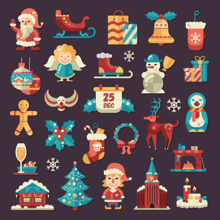 candles: Set of Christmas and Happy New Year flat design vector icons