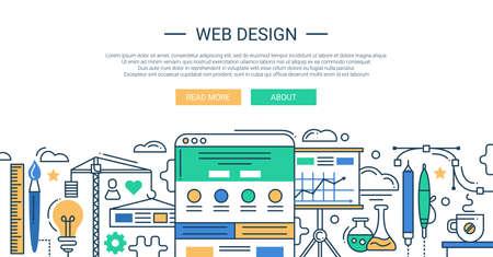 ベクトル現代のウェブ デザイン ライン フラットなデザイン構成と web サイト開発ツールとインフォ グラフィック要素のイラスト。ヘッダーは、あ