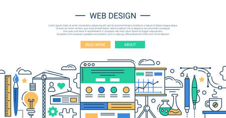 Illustration of vector modern web design line flat design composition and infographics elements with website development tools. Header, banner for your site. Illustration