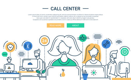 ilustracion: Ilustración del vector de línea moderna de diseño plano de composición y de infografía elementos con equipo de apoyo del centro de llamadas y su lugar de trabajo. Cabecera, banner para su sitio web.