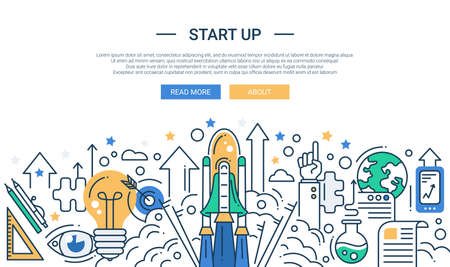 line up: Illustration of vector modern start up line flat design composition and infographics elements with a shuttle launch scene. Header, banner for your site.