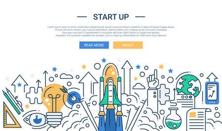 raumschiff: Illustration von Vektor modernen Start-up Linie flache Design Zusammensetzung und Infografiken Elemente mit einem Shuttle-Start-Szene. Header, Banner f�r Ihre Website.