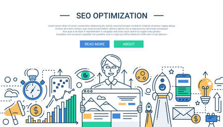 Illustration of vector modern SEO optimization line flat design composition and infographics elements with a happy man. Header, banner for your website.