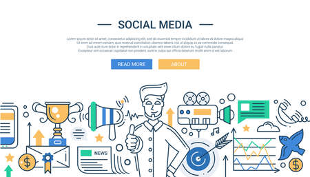 Illustration of vector modern social media promotion line flat design composition and infographics elements with a happy man. Header, banner for your website.