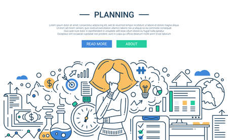 header: Illustration of vector modern line flat design planning process composition and infographics elements with a woman thinking. Header, banner for your website.