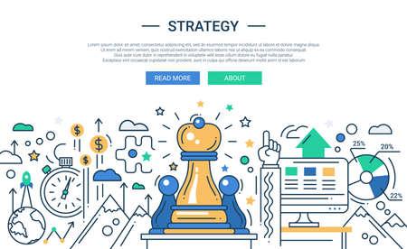 ベクター近代的なライン フラット デザイン戦略組成とインフォ グラフィック要素とチェスの駒のイラスト。あなたのウェブサイトのバナー ヘッダ  イラスト・ベクター素材