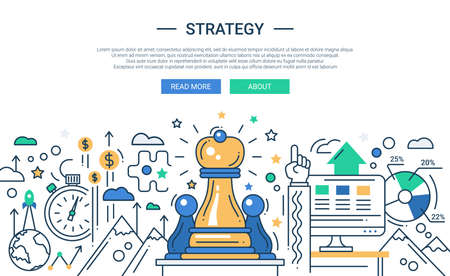Illustration of vector modern line flat design strategy composition and infographics elements with chess pieces. Header, banner for your website. Ilustração