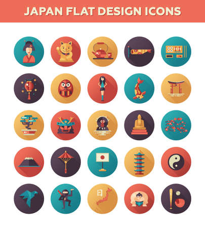 Set of vector flat design Japan travel icons and infographics elements with landmarks and famous Japanese symbols