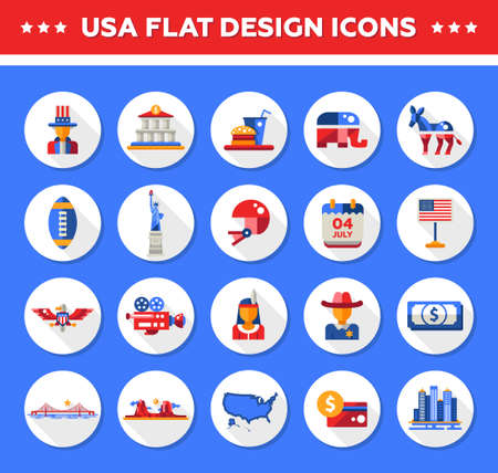 Set Of Vector Flat Design Usa Travel Icons And Infographics Elements