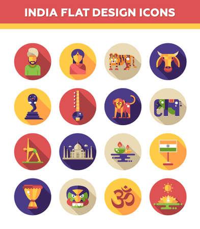mujer: Conjunto de diseño plano del vector de iconos de la India y de infografía elementos con puntos de referencia y símbolos indios famosos